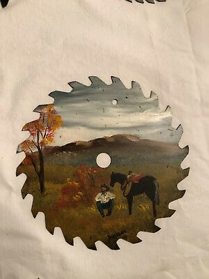"""Hand Painted Saw Blade, 7"""", Scene with Cowboy and Horse, signed"""