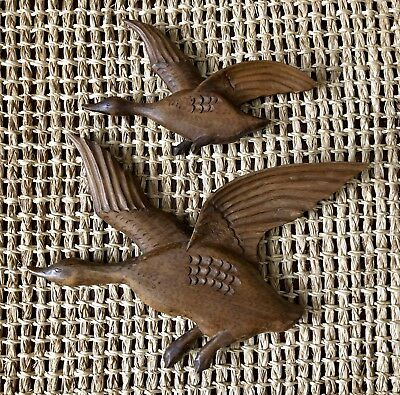 Mid-Century Handcarved Pair of Wooden Geese in Flight,Wall Hang,Vintage,Detailed