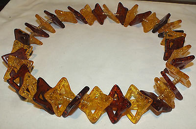 Beautiful Vintage Amber Colors Lucite Huge Fancy Necklace