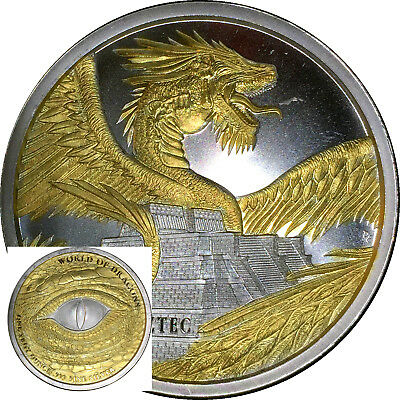 2018 The Aztec World Of Dragons Silver 1 Ounce Round 1oz 24k Gold + Capsule FREE