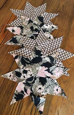 """Vintage Lot of (4) 8-Point Stars for Quilt Blocks 10""""~Black~Old Fabric Patterns"""