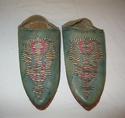 Vintage Antique Leather Moroccan Slippers Shoes