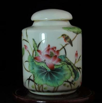 China Old Hand-made Famille-rose Porcelain Hand Painted Lotus & Bird Teapot B01