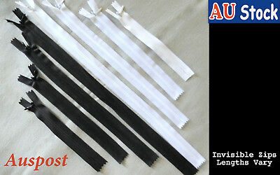 Invisible Zip Black White Grey Red15/20/ 25/29.5/ 35/40/ 45 cm Closed End