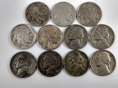 Buffalo Jefferson Nickel Key Date and War Nickel 11 Coin Collection