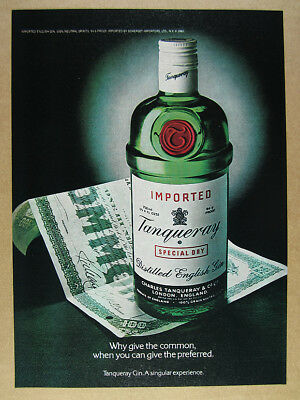 1981 Tanqueray Gin bottle & stock certificate photo vintage print Ad