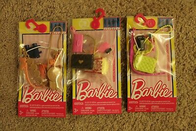 Lot x 3 Barbie Fashions Summer Tales / Movie Night / Sightseeing Accessory Pack