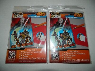 STAR WARS REBEL Lot Of 2 Packages BIRTHDAY PARTY INVITATIONS 16 Total