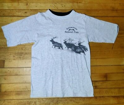 Vintage Yellowstone National Park Elk Graphic T Shirt Single Stitch Large 1990's