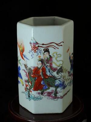 China Old Hand-made Pastel Porcelain Hand Painted Kirin Brush Pot B02