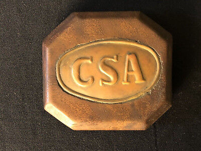 Civil War CONFEDERATE CSA belt buckle Paper Weight Mounted in Wood