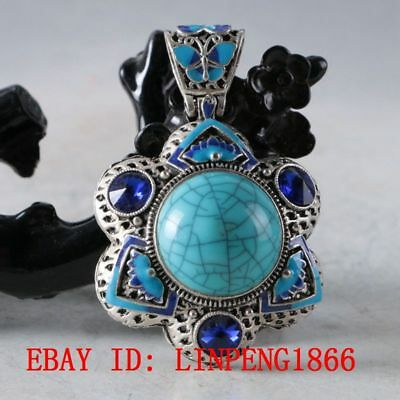 Chinese Handmade Copper Cloisonne Inlaid Turquoise & Zircon Pendant L06