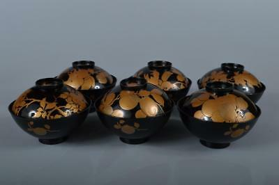 R7941: Japanese Wooden Persimmon Bird gold lacquer pattern SOUP BOWL/dish 6pcs