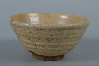 R7498: Japanese Old Seto-ware White glaze TEA BOWL Green tea tool Tea Ceremony