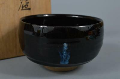 R7071: Japanese Kiyomizu-ware Black glaze TEA BOWL Green tea tool, auto w/box