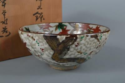 R7135: Japanese Seto-ware Colored porcelain DESSERT BOWL/dish w/signed box