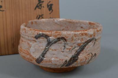 R6530: Japan XF Old Shino-ware White glaze Muffle painting TEA BOWL w/signed box