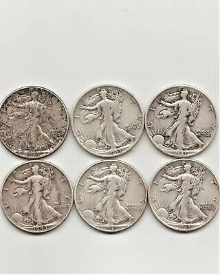 6 Nice Circulated Us Walking Liberty 90% Silver Half Dollars 1941 To 1946