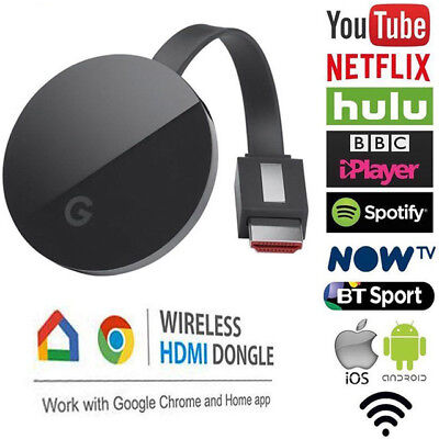 Chromecast 2nd Generation HD 1080P Media Video Digital Streamer Black Google