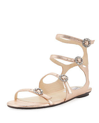 4d36d5c46a7 Jimmy Choo Naia Metallic Flat Sandal Crystal Buckles Rose Gold Sz 39.5  695