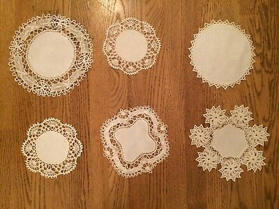 Vintage Hand Crochet Doilies Lot of 6 Cut Out and others on Linen