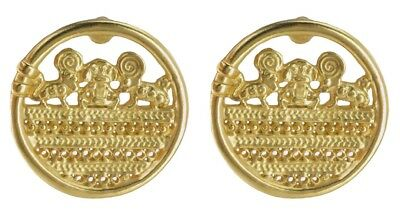 ACROSS THE PUDDLE 24k GP Pre-Columbian Sinu Filigree Coin Drop Earrings