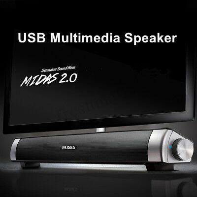 USB Multimedia Audio Stereo Sound Bar Soundbar Speaker For Computer PC Laptop !