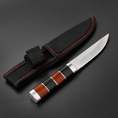 Camping Survival Fixed Blade Wood Handle Knife Outdoor Tactical Straight Knives