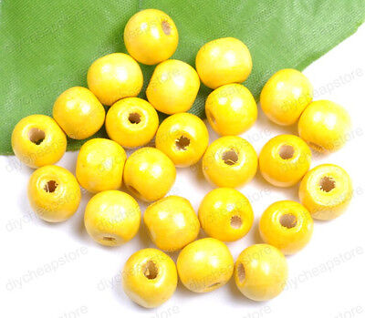 FREE SHIP 50PCS Yellow Wood Round Spacer Charms Beads  8MM