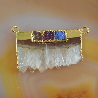 Rare Amethyst Druzy Slice & Agate Druzy Connector Gold Plated T073262