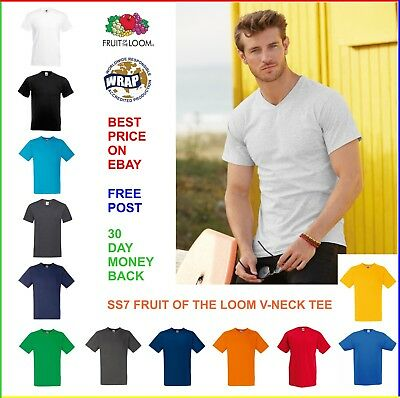 6 x MENS V-NECK T-SHIRT Fruit of the Loom VALUEWEIGHT TEE: 100% Cotton, Bulk Buy