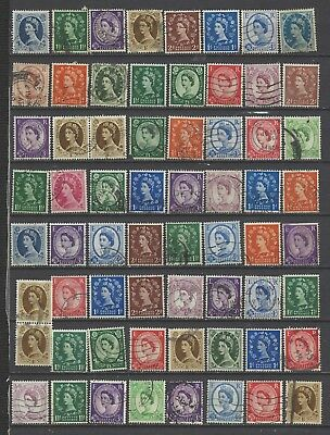 British stamps collection of pre decimal used Wilding stamps gb mixed w/mark