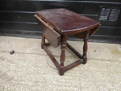Antique Small Oval Oak Drop Leaf Occasional Side Table