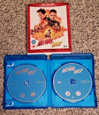 Ant-Man and the Wasp 3D Blu Ray 3D & 2D discs w/Slipcover **SUPER RARE in USA**