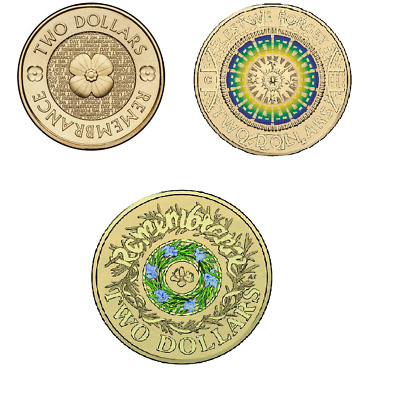 Australia 2$ Coin: 2012 POPPY + 2017 Lest We Forget ANZAC Day + Remembrance Day