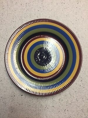 Longaberger Pottery Multi-color Stripe Luncheon Plate
