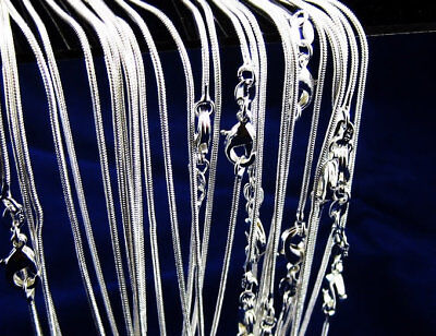 """wholesale 925sterling solid silver Lots 5PCS 1mm /"""" O /"""" chain necklace 16-24inch"""
