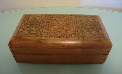 Vintage Solid Wooden Box with Inlaid Brass and Carved Lid