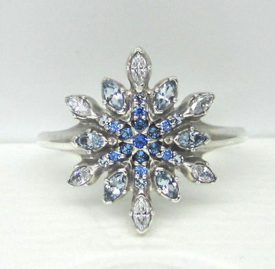 98656c74c #113 Authentic New Pandora #190969NBLMX Crystalized Snowflake Ring Size 8.5  (58)