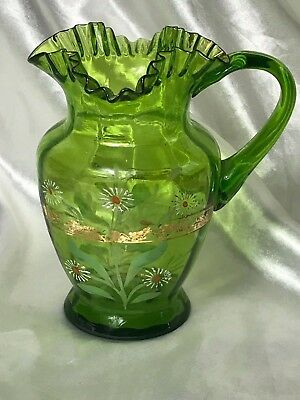 Amazing Pretty Vintage Hand Painted Small Green Glass Floral Gilt Jug Ornament