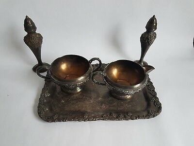 Vintage Lot of Old English Reproduction Silver Plate and Viking Grape Creamer +