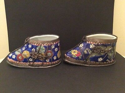 Unusual Pair Of Sino Porcelain Tibetan Shoes Clad 4 Character Mark