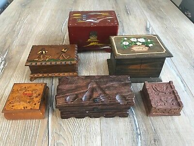 6x Job Lot Of Small Wooden Old Antique Vintage Style Boxes Jewellery Music