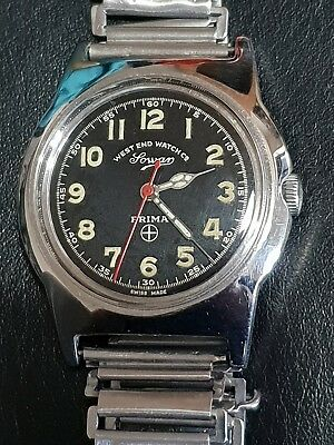 Gents Vintage Stainless Steel West End Watch Co Sowan Prima Military Style Watch