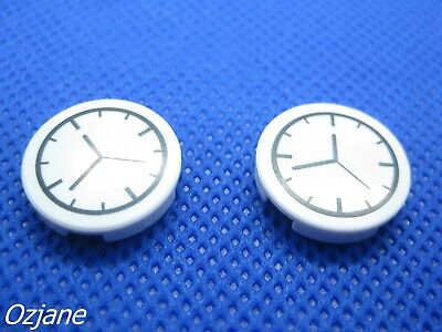 LEGO PART 4150px1 WHITE TILE ROUND 2 X 2 WITH CLOCK PATTERN SET OF TWO