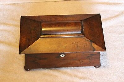 ANTIQUE English Wood Tea Caddy - 1890s - 3 Compartments, 2 Have Lids - On Feet