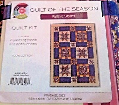 """Quilt of the Season, Falling Stars, 48""""X66"""" Quilt Kit ~ Colorful Stars Quilt Kit"""