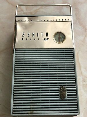 Vintage Zenith Royal 300 Transistor Radio TESTED WORKING Collectible