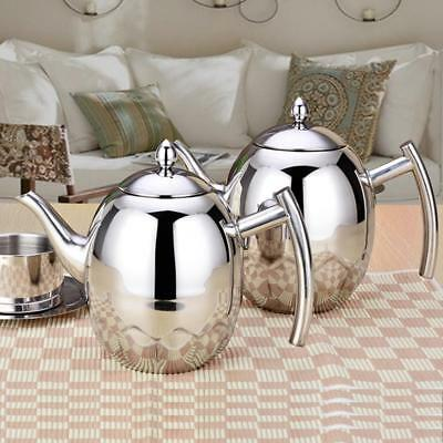 1L 1.5L Stainless Steel TeaPot Coffee Tea Pot Water Kettle With Filter Infuser