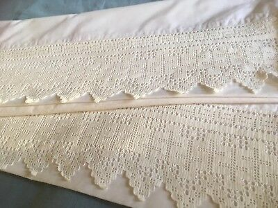 Pair of white modern cotton pillowcases with a deep pointed vintage lace edge